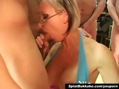 british golden-haired d like to fuck bukkake party