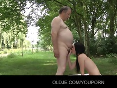 cute beauty screwed by old and obese prick