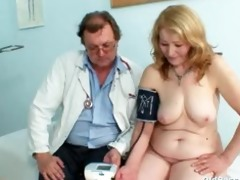gyno doctor speculum examines very old aged pussy