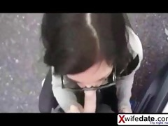 cheating wife engulfing knob on the street