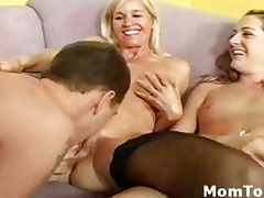 lucky lad finger fucks breasty mama and her lewd