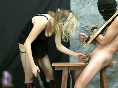 old golden-haired lesbo rubs her vagina part5