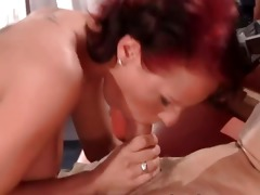 hot ginger chick sucks rigid white dong