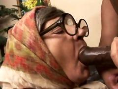 granny gobbles jock and receives fucked!