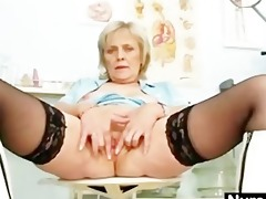 golden-haired granny nurse self exam with snatch
