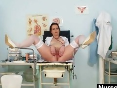 unpretty older nurse masturbates with gyno tool