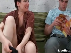 excited and lewd mature brunette hair sucks