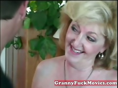 insane blond granny with younger lad