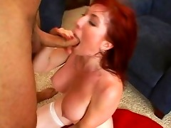 cute breasty redhead milf getting hard drilled