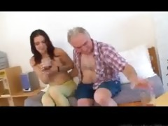 small tittted chick receives fucked by grandpa