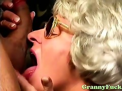 excited granny using her hairy fur pie