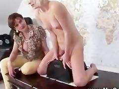 mature rides on saddle fucking machine