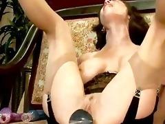 aged gal explores fucking machines