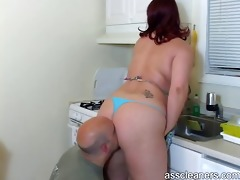 spouse licks her wife`s large overweight butt as