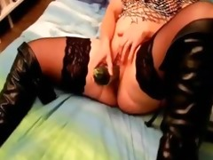 my french wife sinks a zucchini into her pussy