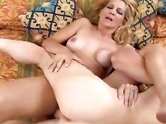 slim golden-haired milf enjoys a sticky facial