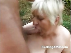 lewd bulky granny oral-job and screwed by the