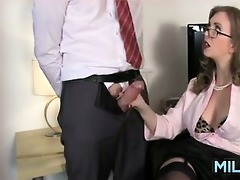 milf giving a cook jerking at the office
