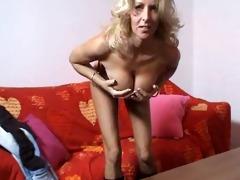 foxy golden-haired aged lady masturbates
