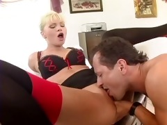 busty secretary drilled in nylons and a garter
