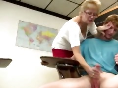 granny teacher tugs her students ramrod in the