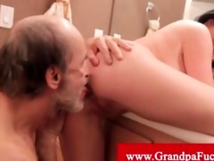 loni evans drilled by old man in a latrine