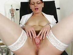 shaggy mamma wears glasses and nurse uniform