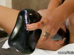 breasty honey receives huge dildo and tattoed arm