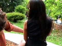 pleasant dark brown latin babe receives drilled
