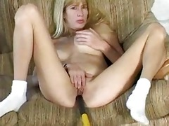large breasted golden-haired wife stuffs muff