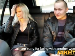 faketaxi spouse watches wife getting drilled