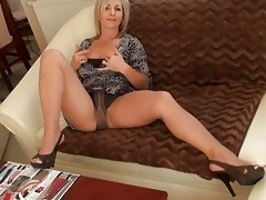 impressive golden-haired momma in hose does