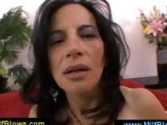 lusty brunette hair mamma masturbating herself
