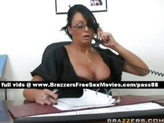 aged dark brown whore at work in her office
