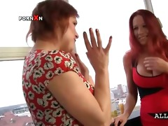 breasty lesbo matures oiling milk cans and giving
