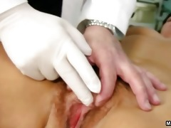 old doctor inspecting a curly mature mommy part7