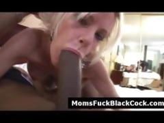 concupiscent golden-haired cougar sucks dark cock