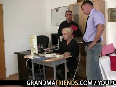 two co-owners team fuck hawt older lady
