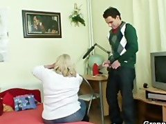 massive granny tastes his dick then doggystyled