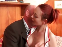 redhead nurse with big marangos sucks