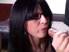 sexy secretary with glasses receives drilled