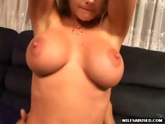 a hot large tit blond mother i is riding a large