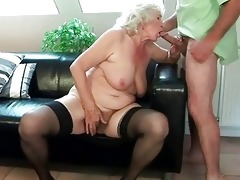 breasty granny receives her hairy cunt drilled