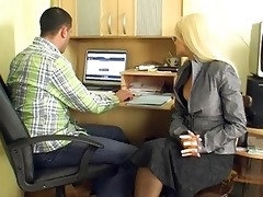older blond secretary gives group blowjobs