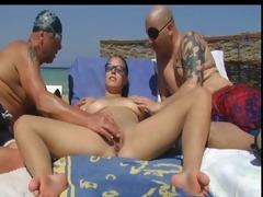 bare beach - large boob pierced aged - mmf trio