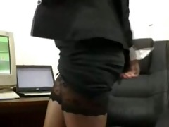 working overtime in her petticoat