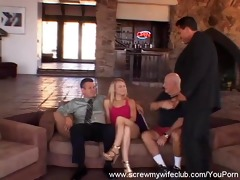 cute blonde wife: screwed, hubby says yes!