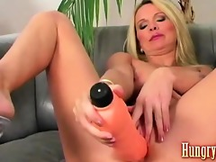 excited blond dildo fucking mommy
