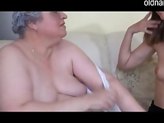 old breasty granny playing with slim beauty