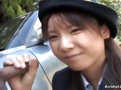 japanese momo aizawa gives an outdoor blow job